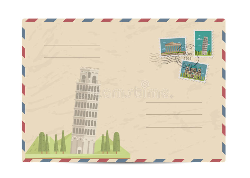 Vintage postal envelope with stamps. Leaning tower in Pisa, Italy. Vintage postal envelope with famous architectural composition, postage stamps and postmarks on royalty free illustration