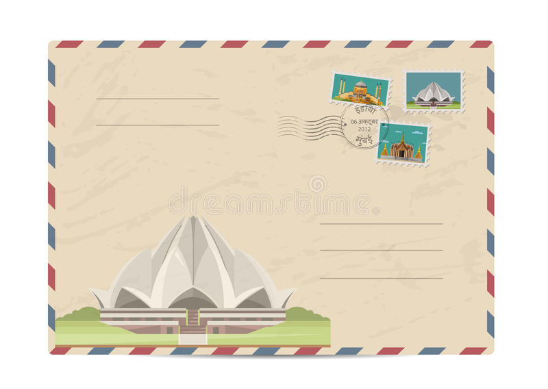 Vintage postal envelope with stamps. Lotus Temple in Delhi, India. Postal envelope with famous architectural composition, postage stamps and postmarks on white royalty free illustration