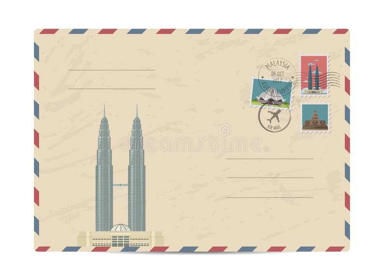 Vintage postal envelope with stamps. Petronas Twin towers, Malaysia. Vintage postal envelope with famous architectural composition, postage stamps and postmarks royalty free illustration