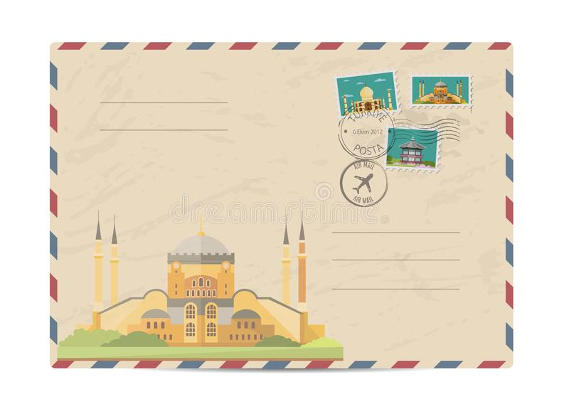 Vintage postal envelope with stamps. Saint Sophie Cathedral in Istanbul, Turke. Postal envelope with architectural composition, postage stamps and postmarks on stock illustration