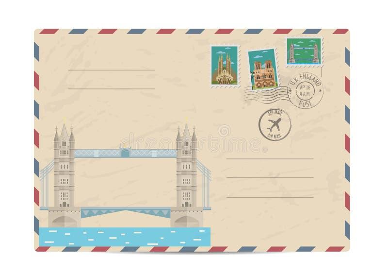 Vintage postal envelope with stamps. Tower Bridge Thames river in London, UK. Vintage postal envelope with famous architectural composition, postage stamps and stock illustration