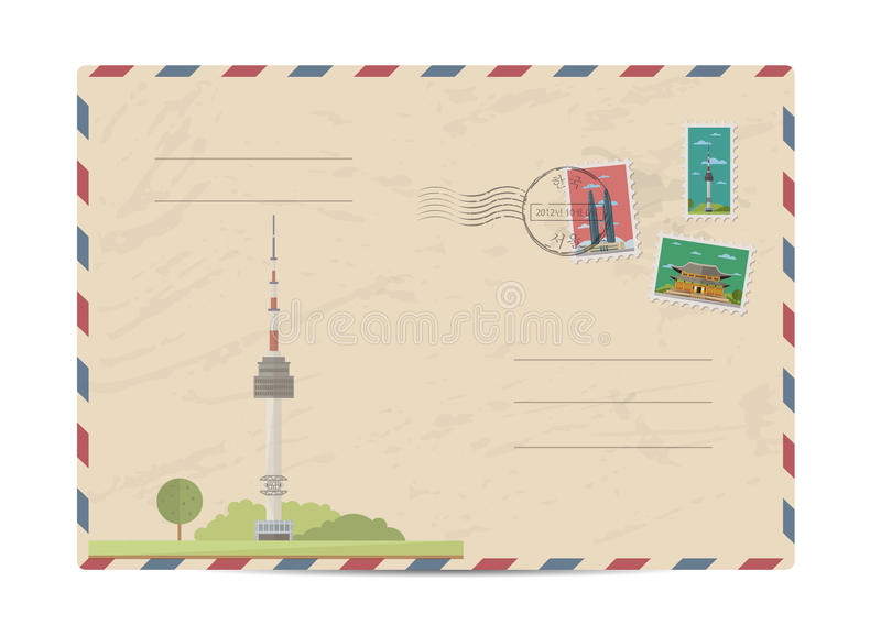 Vintage postal envelope with stamps. TV tower of Kuala Lumpur, Malaysia. Vintage postal envelope with famous architectural composition, postage stamps and stock illustration