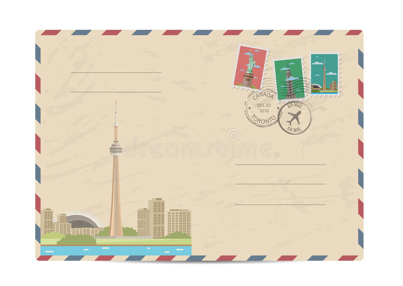 Vintage postal envelope with stamps. TV tower of Toronto, Canada. Vintage postal envelope with famous architectural composition, postage stamps and postmarks on royalty free illustration