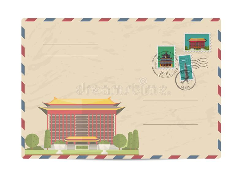 Vintage postal envelope with Taiwan stamps. Taiwan vintage postal envelope with postage stamps and postmarks on white background, isolated illustration royalty free illustration