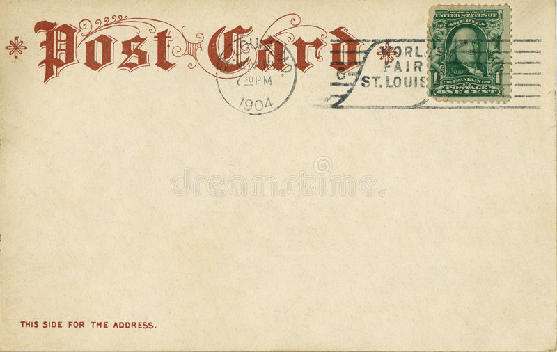 Vintage postcard 1904 royalty free stock photos