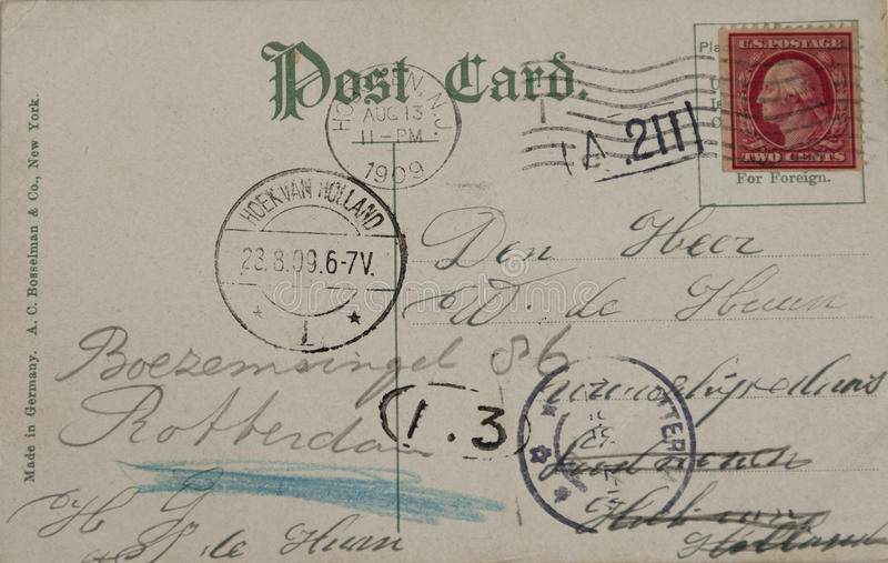 Vintage postcard of 1909 stock photography