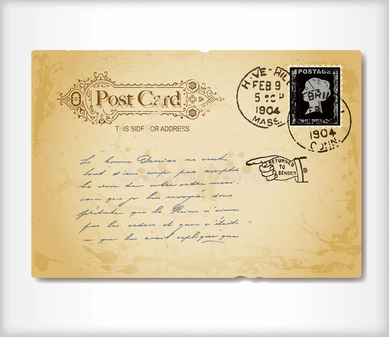 Vintage postcard stock illustration