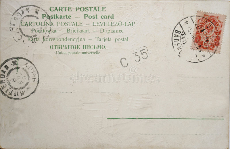 Vintage postcard. With Russian stamp and postmark 1905 or 1908 (year not very good recognizable) And Dutch postmark Rotterdam stock photography