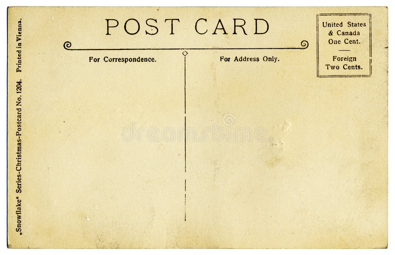 Download Vintage Postcard Back stock photo. Image of fashioned - 3114000