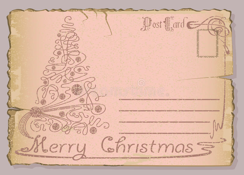 Vintage postcard with Christmas and New Years. vector illustration