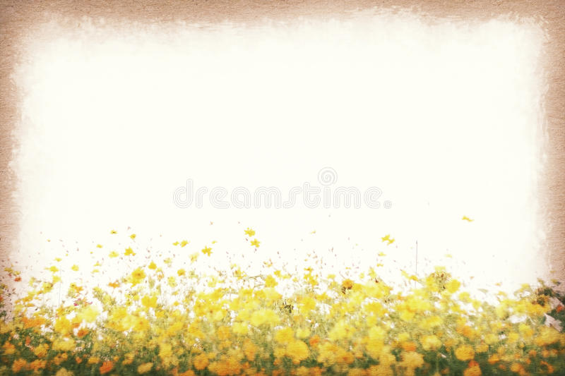 Download Vintage Postcard Cosmos Flower In The Field Paper Texture Retro Style Stock