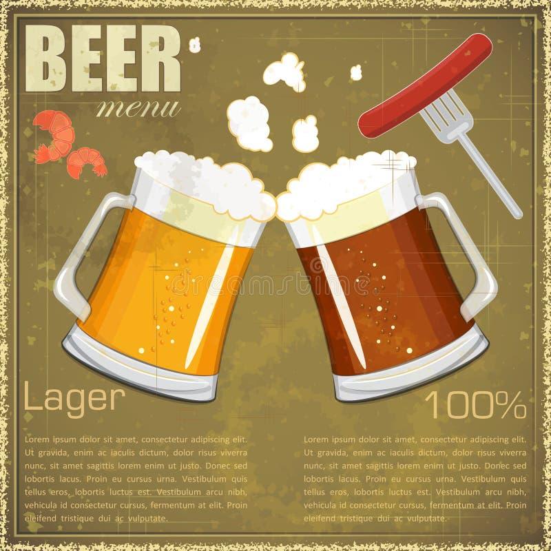 Download Vintage Postcard, Cover Menu - Beer, Beer Snack Royalty Free Stock Images - Image: 24473699