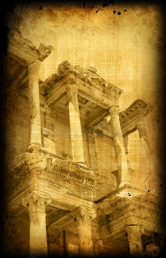 Vintage postcard with Greece, Ephesus stock photos