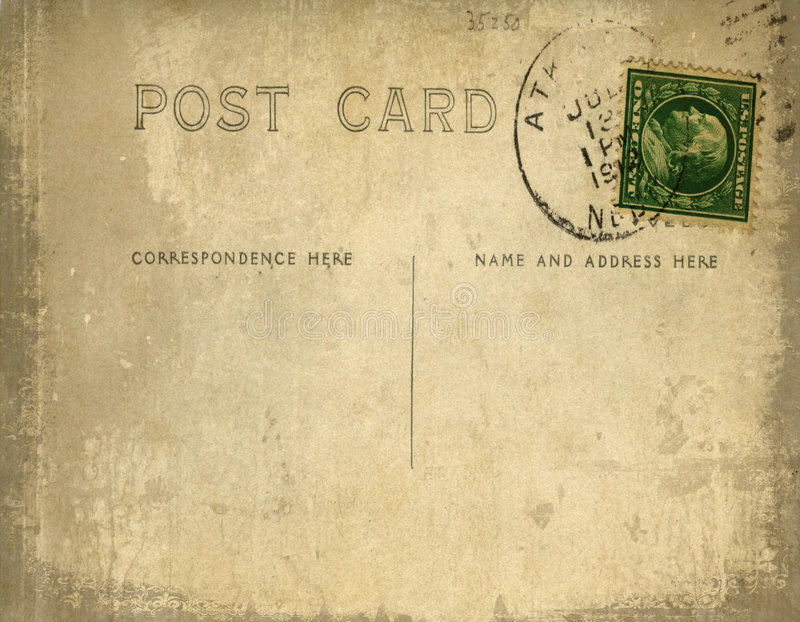 Download Vintage Postcard With Grungy Background Stock Illustration