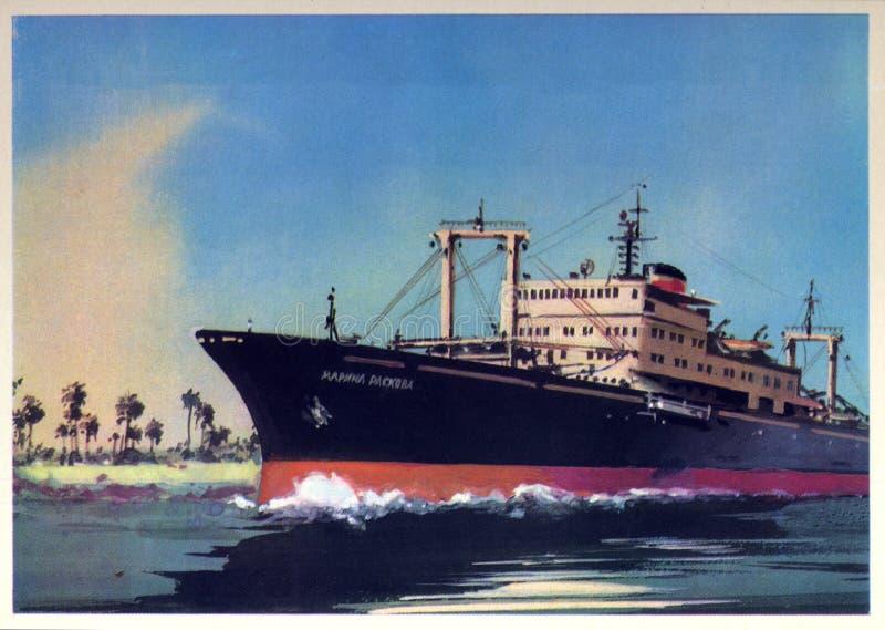 Vintage postcard with old steamer Marina Raskova royalty free stock photos