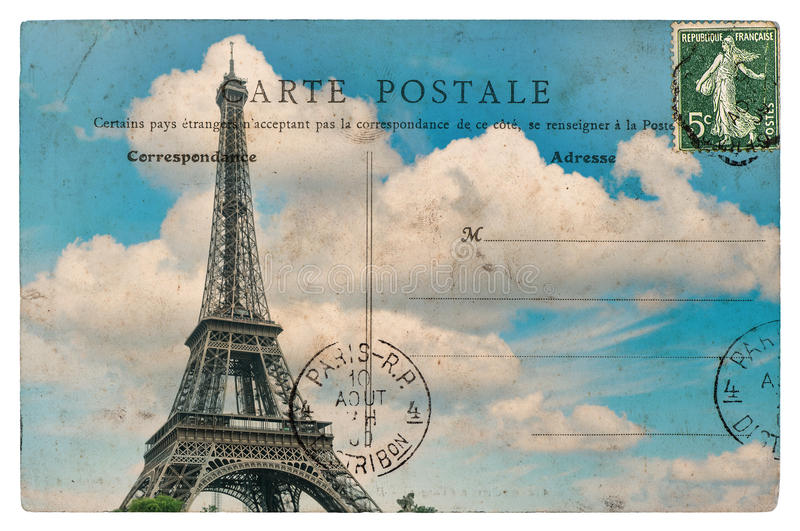 Vintage postcard from paris with eiffel tower over blue sky royalty free stock photography