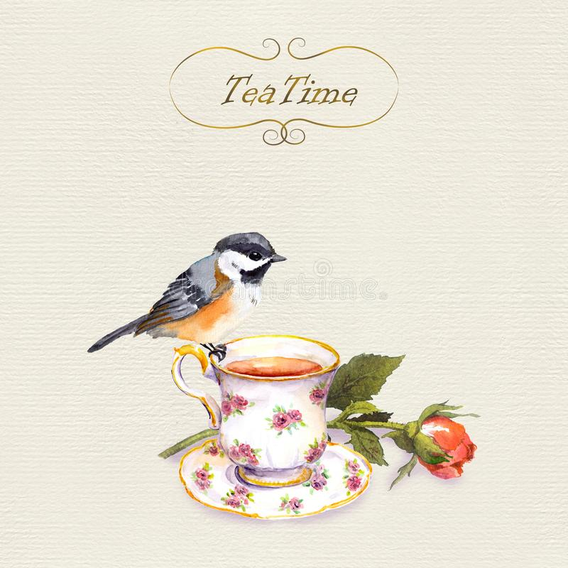 Vintage postcard with retro design - watercolor bird, tea cup and rose flower. On paper background vector illustration