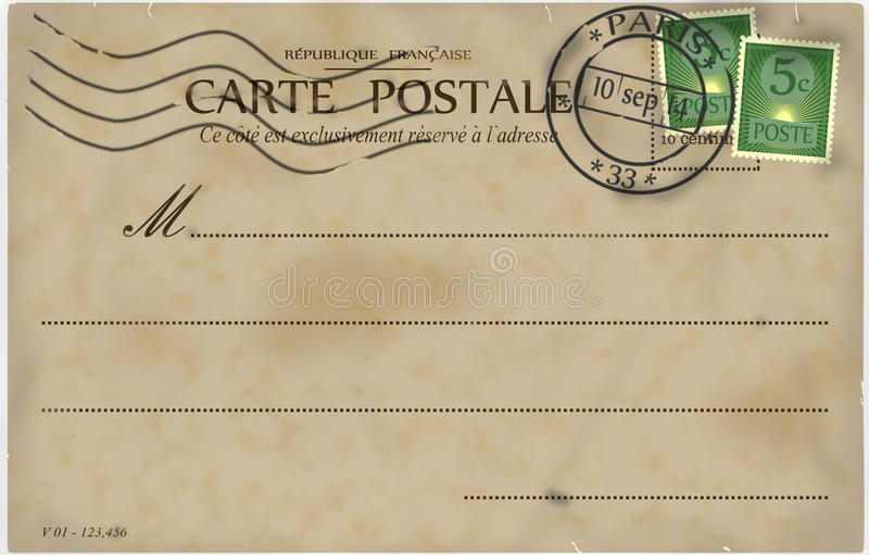 Vintage postcard. Reverse of postcard. In the style of French postcards from the early 20th century vector illustration