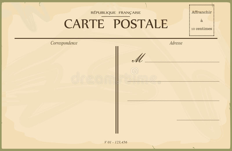 Vintage postcard. Reverse of postcard. In the style of French postcards from the early 20th century. Vector illustration without gradients. Base for further royalty free illustration
