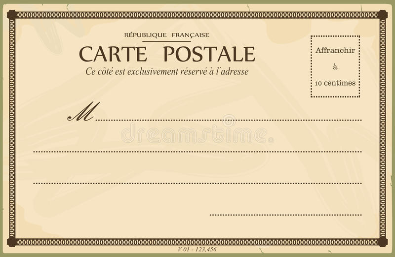 Vintage postcard. Reverse of postcard. In the style of French postcards from the early 20th century. Vector illustration without gradients. Base for further stock illustration