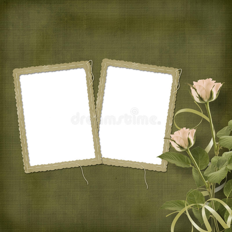 Download Vintage Postcard With Roses And Ribbons Stock Photo - Image: 23340640