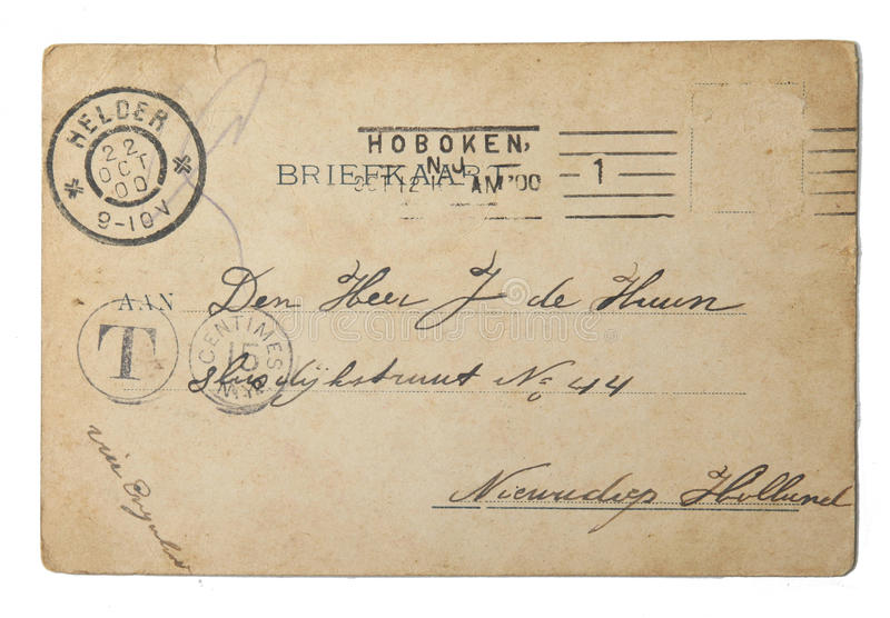 Vintage postcard sent in 1900 from the USA royalty free stock image