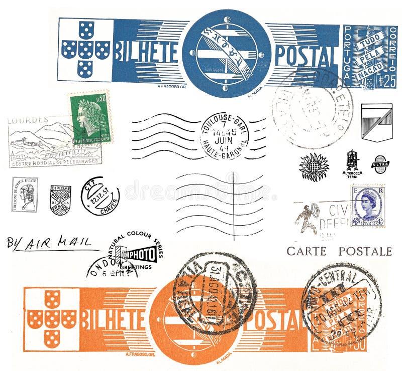 Vintage postcard symbols and stamps stock illustration