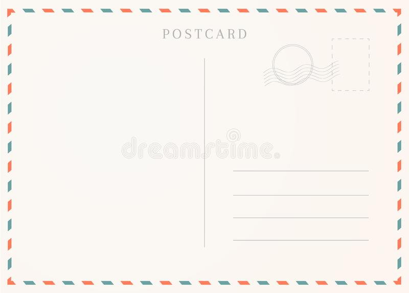 Vintage postcard template. Postal card illustration for design royalty free illustration