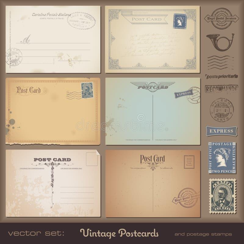 Vintage postcards vector illustration