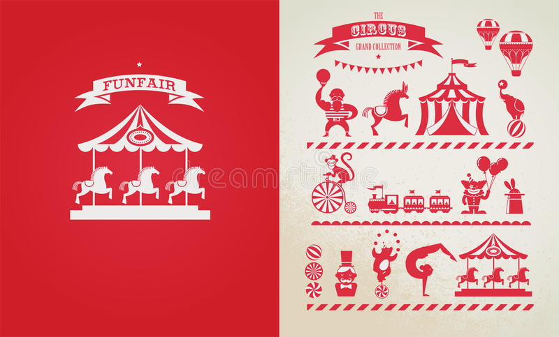 Vintage poster with carnival, fun fair, circus vector illustration