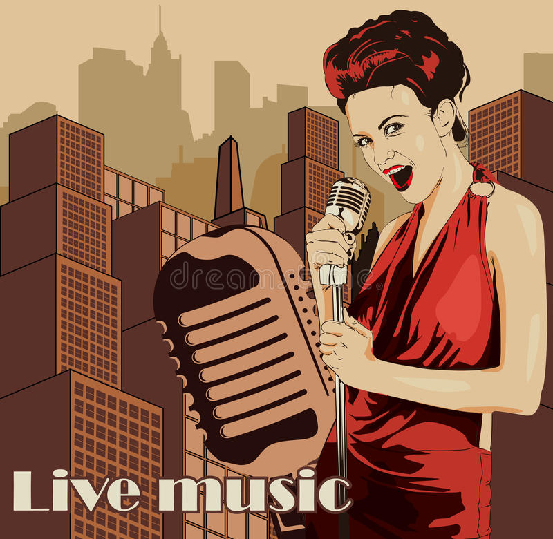Vintage poster with cityscape , retro woman singer and moon. Red dress on woman. Retro microphone. Jazz, soul and blues live music. Vintage poster with cityscape royalty free illustration