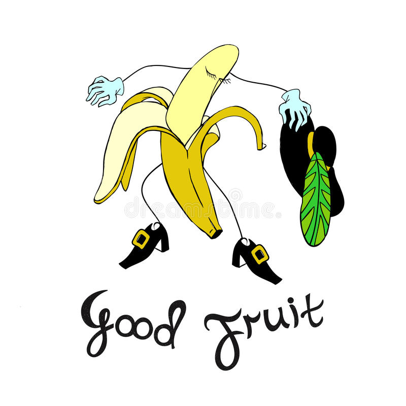 Vintage poster design with Banana. Vector banana character with calligraphic inscription. Vector illustration vector illustration