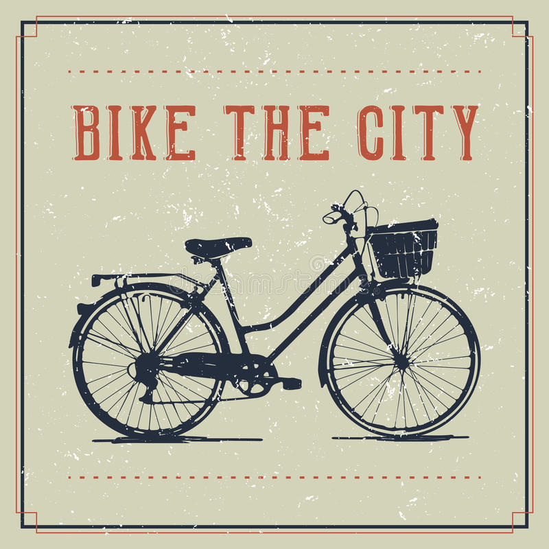 Vintage poster design with bicycle stock illustration