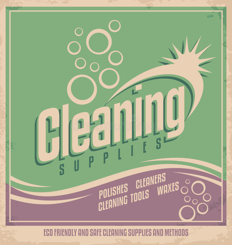 Vintage poster design for cleaning service royalty free illustration