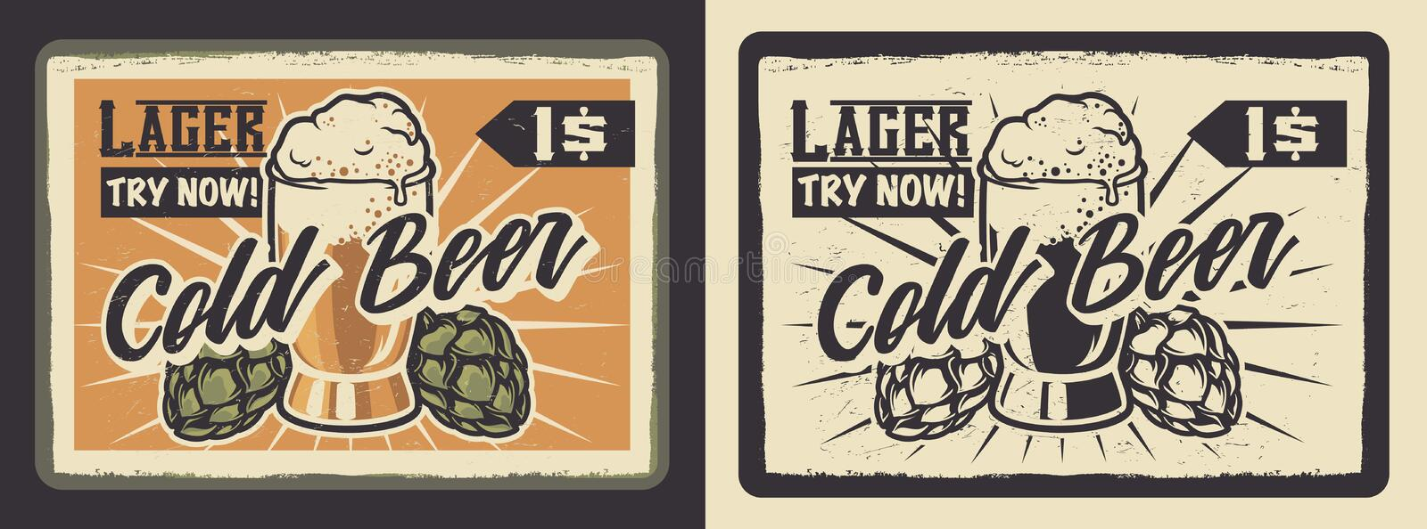 Vintage poster with a glass of beer. royalty free illustration