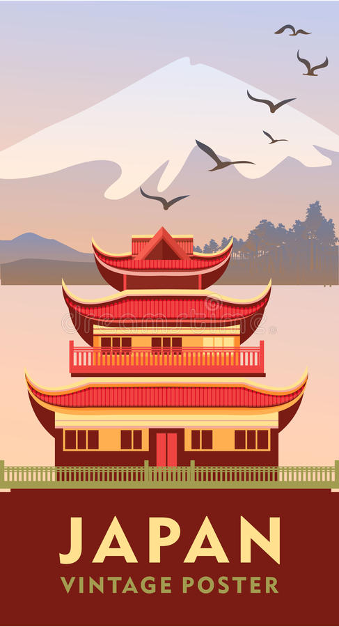 Vintage poster japan royalty free illustration