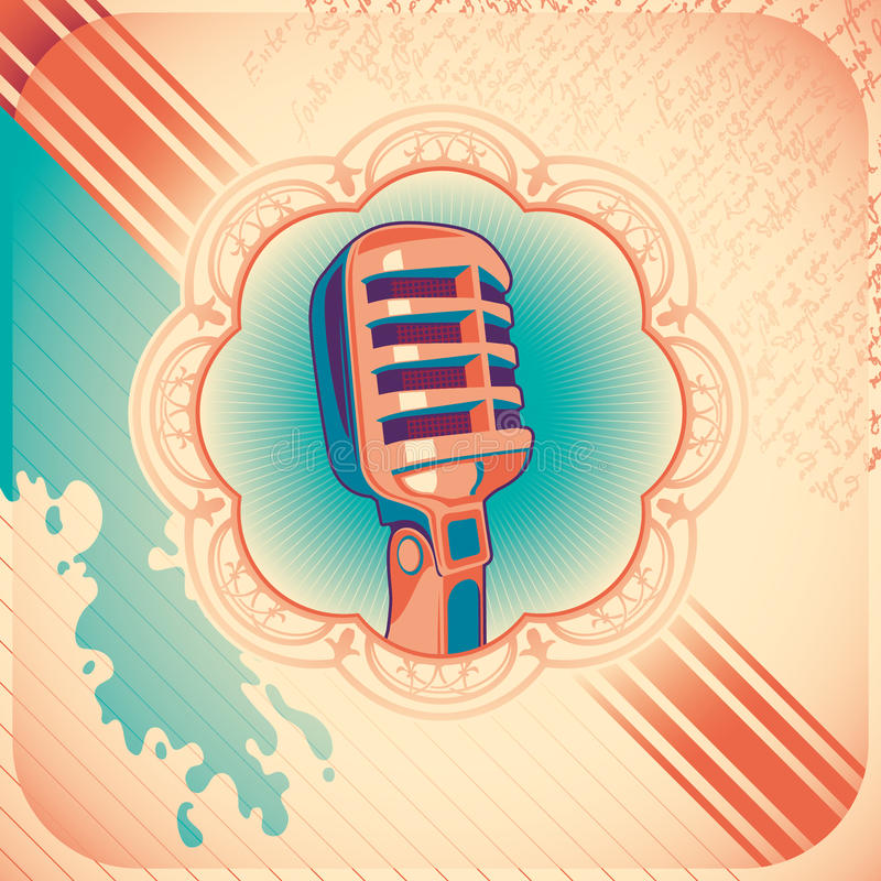 Vintage poster with microphone. Vintage poster with microphone in color royalty free illustration