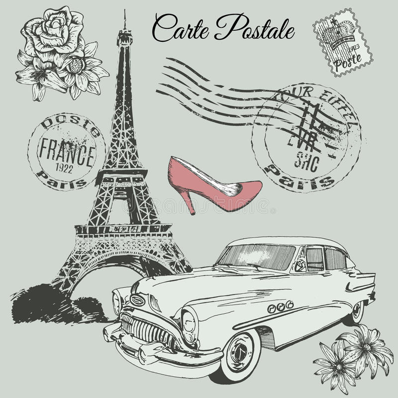 Vintage poster of Paris theme vector illustration