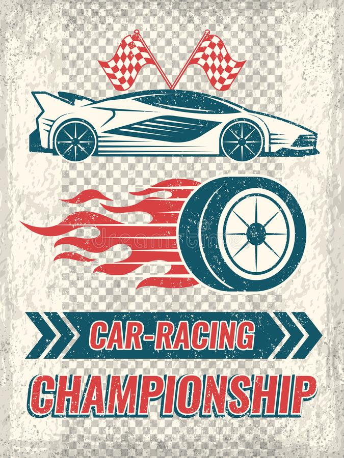 Vintage poster with racing cars. Vector template with place for your text stock illustration