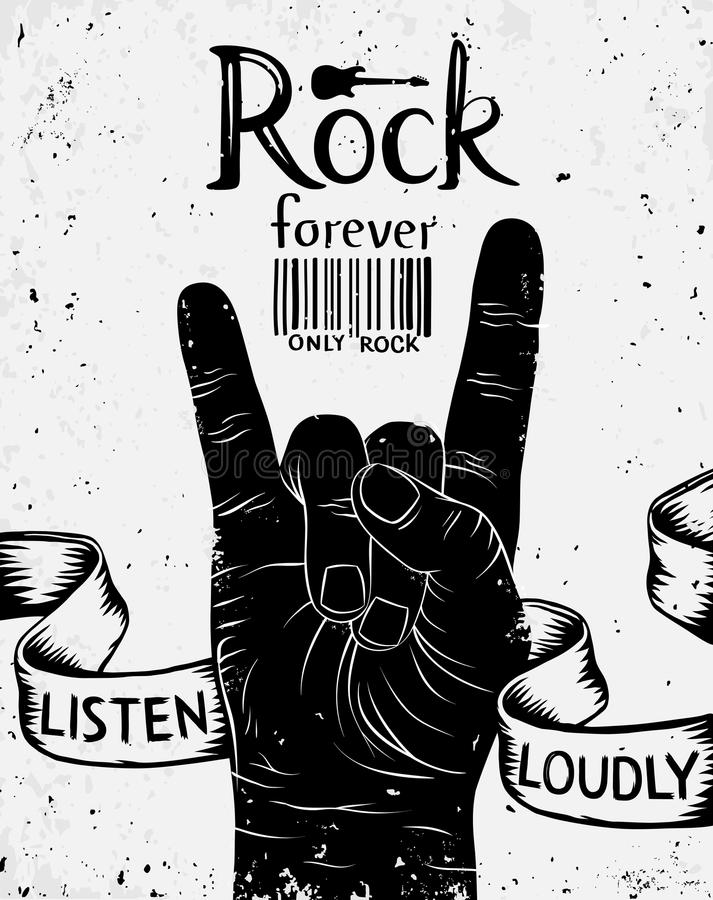 Vintage poster with rock forever. Rock and Roll hand sign. Vector illustration royalty free illustration