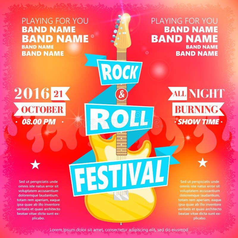 Vintage poster of Rock and roll festival. Hot burning rock party. Cartoon Design element for poster, flyer, emblem, logo stock illustration