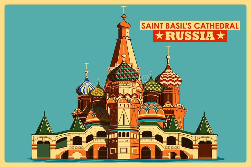 Vintage poster of Saint Basil's Cathedral in Moscow famous monument in Russia vector illustration
