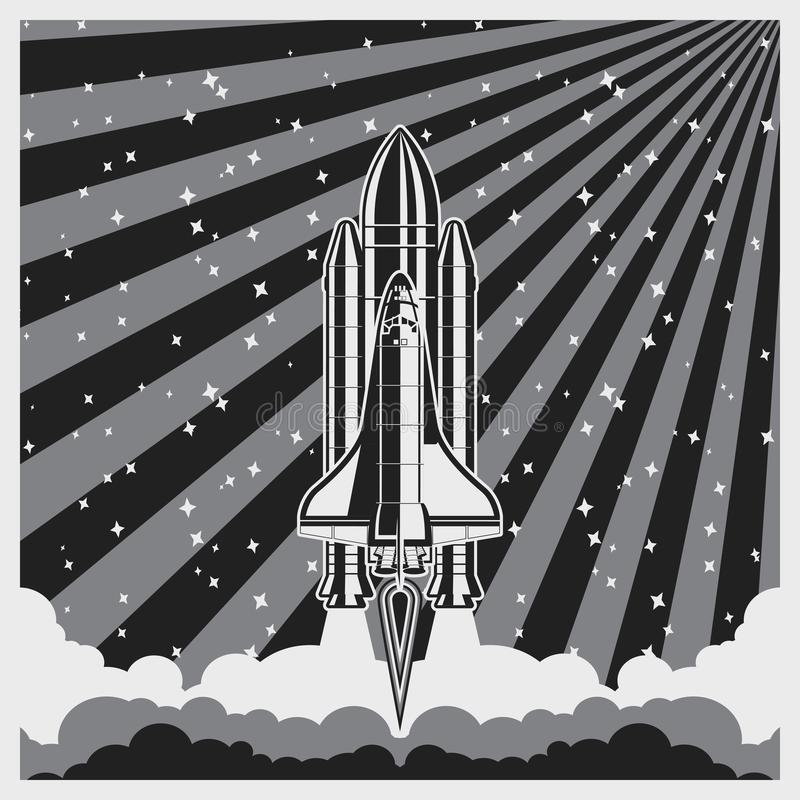 Vintage poster with shuttle launch. Spaceship and space background. Projects template for business. royalty free illustration