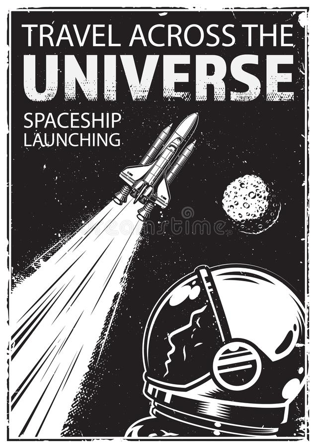 Vintage poster with shuttle royalty free illustration
