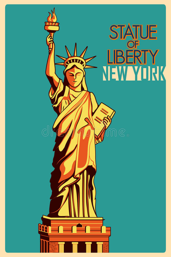 Vintage poster Statue of Liberty New York famous monument in United States royalty free illustration