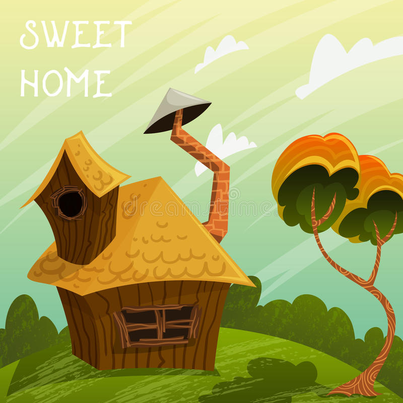 Vintage poster sweet home. Summer landscape with little house and tree. stock illustration