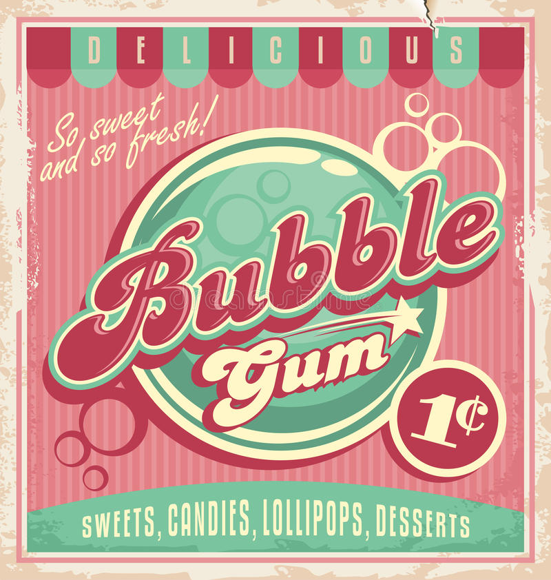 Vintage poster template for bubble gum. Retro vector design concept for chewing gum vector illustration