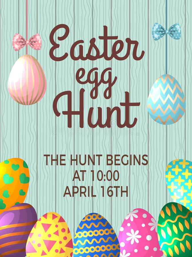 Vintage poster template with place for your text and illustrations of easter eggs. Vector banner easter egg hunt event royalty free illustration