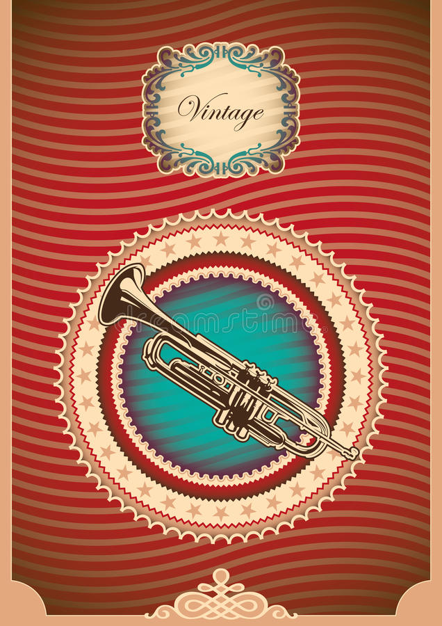 Vintage poster with trumpet. Vintage poster with illustrated trumpet stock illustration