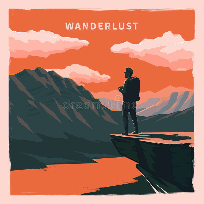 Vintage poster. Wanderlust. royalty free illustration